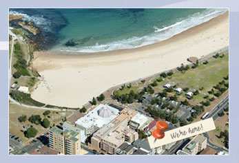 Overhead view of Coogee Beach House in relation to the beach.